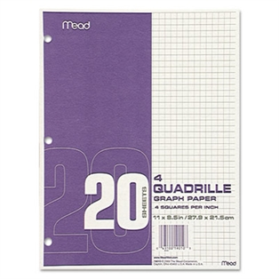 graph paper quadrille 4 sq in 8 1 2 x 11 white 20 sheets pad